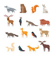 forest wild animals and birds cartoon set vector image vector image