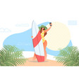 girl making selfie with surf board vector image