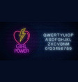 girls power sign in neon style with alphabet vector image