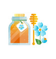 glass jar of honey and blue flower natural herbal vector image vector image