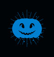 halloween pumpkin with divergent rays blue vector image