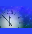 happy new year 2021 celebrate banner with clock vector image vector image