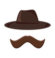 hat and mustache retro icon hipster style vector image vector image
