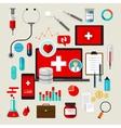 health medical icon set flat vector image vector image