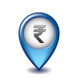 indian rupee symbol on mapping marker icon vector image vector image