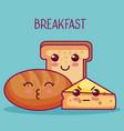kawaii breakfast design vector image vector image
