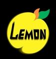 logo lemon leave black background vector image vector image