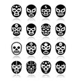 Lucha libre Mexican wrestling masks icons vector image vector image