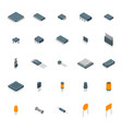 microchip computer electronic components icons set vector image vector image