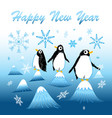 new year greeting card with funny penguins vector image