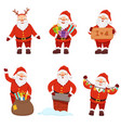santaclaus in action poses vector image