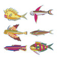 set abstract fish - graphic this logo template vector image vector image
