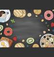 set of morning breakfast elements on blackboard vector image vector image