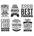 set of vintage typographic food quotes to the menu vector image vector image
