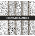 set ten seamless patterns retro memphis vector image