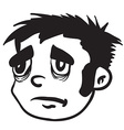 simple black and white sad boy vector image vector image