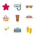 travel icons set flat style vector image vector image