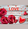 valentine day card with red roses and hearts vector image vector image