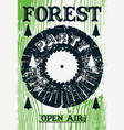 vintage open air forest party poster vector image vector image