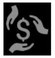 white halftone money care hands icon vector image