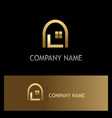 window home gold logo vector image vector image