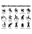 working office stretches and exercises to relax vector image vector image