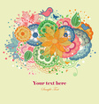 Cartoon Birds and Rainbow Colored Flowers vector image