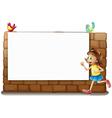A white board a girl and birds vector image vector image