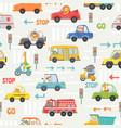 animals in transport seamless pattern kid cartoon vector image