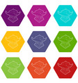 asian pagoda icons set 9 vector image vector image