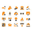 bankruptcy simple color flat icons set vector image vector image