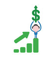businessman character standing on sales bar chart vector image