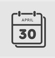 calendar day 30 april days year vector image vector image