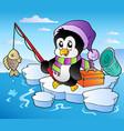 cartoon fishing penguin vector image
