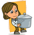cartoon girl character with metal cooking pot vector image vector image