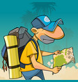 cartoon male tourist with backpack looking vector image vector image