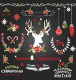 Chalkboard Merry Christmas Flowers Deer vector image