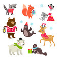 christmas animals set character vector image