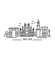 city milan in outline style on white vector image vector image
