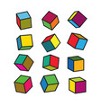 colorful 3d cube in pop art style vector image vector image