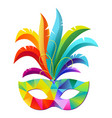 colorful carnival party mask with feathers vector image