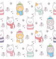 cute seamless pattern winter cats vector image