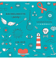 Doodle seamless hipster pattern over turquoise vector image
