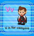 flashcard letter v is for vampire vector image vector image