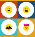 flat icon gesture set of caress cheerful sad and vector image vector image