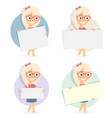 girl holding blank board cartoon character vector image vector image