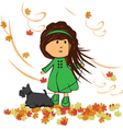 girl with dog vector image vector image