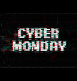 glitch effect white letters cyber monday vector image vector image
