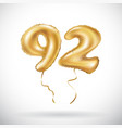 golden number 92 ninety two metallic balloon vector image vector image
