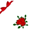 Greeting card with red roses and bow vector image vector image